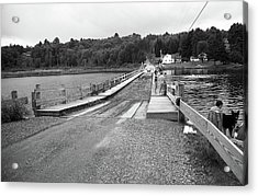 Acrylic Print featuring the photograph Brookfield, Vt - Floating Bridge 5 Bw by Frank Romeo