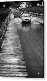 Acrylic Print featuring the photograph Brookfield, Vt - Floating Bridge Bw by Frank Romeo