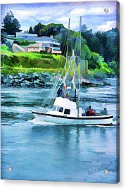 Brookings Boat Oil Painting Acrylic Print by Wendy McKennon