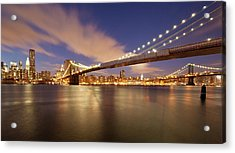 Brooklyn Bridge And Manhattan At Night Acrylic Print by J. Andruckow