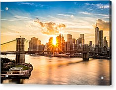 Brooklyn Bridge And The Lower Manhattan Skyline At Sunset Acrylic Print