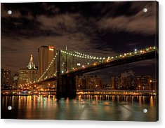 Brooklyn Bridge At Dusk Acrylic Print by Shawn Everhart