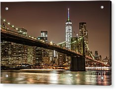 Brooklyn Bridge At Night Acrylic Print
