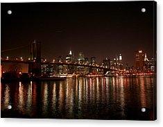 Brooklyn Bridge At Night Acrylic Print by Jason Hochman