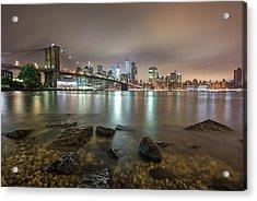Acrylic Print featuring the photograph Brooklyn Bridge At Sunrise  by Emmanuel Panagiotakis