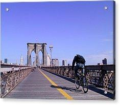 Brooklyn Bridge Bicyclist Acrylic Print