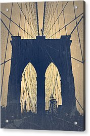 Brooklyn Bridge Blue Acrylic Print by Naxart Studio