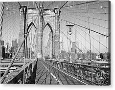 Brooklyn Bridge Deck Acrylic Print by Andrew Kazmierski