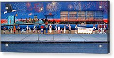 Brooklyn Bridge Fireworks Acrylic Print