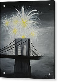 Brooklyn Bridge Fireworks Acrylic Print by Emily Page