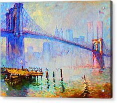 Brooklyn Bridge In A Foggy Morning Acrylic Print by Ylli Haruni