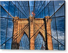 Brooklyn Bridge In The Golden Light Acrylic Print
