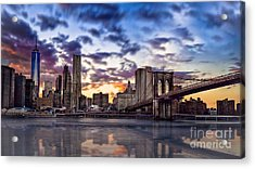 Brooklyn Bridge Manhattan Sunset Acrylic Print