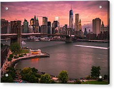 Acrylic Print featuring the photograph Brooklyn Bridge Over New York Skyline At Sunset by Ranjay Mitra