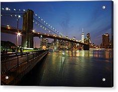 Brooklyn Bridge Park Scenic At Dusk Acrylic Print by Daniel Portalatin