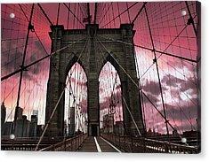 Brooklyn Bridge Sunset Silhouette Acrylic Print