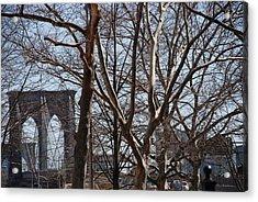 Brooklyn Bridge Thru The Trees Acrylic Print by Rob Hans