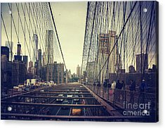 Brooklyn Bridge Traffic Acrylic Print by Joan McCool