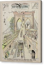 Acrylic Print featuring the photograph Brooklyn Bridge Trolley Right Of Way Controversy 1897 by Daniel Hagerman