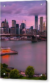 Acrylic Print featuring the photograph Brooklyn Bridge World Trade Center In New York City by Ranjay Mitra
