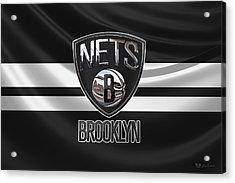 Brooklyn Nets - 3 D Badge Over Flag Acrylic Print