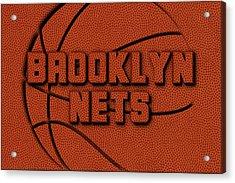 Brooklyn Nets Leather Art Acrylic Print by Joe Hamilton