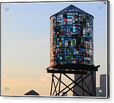 Brooklyn's Glowing Glass Water Tower - Public Art Acrylic Print
