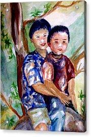Brothers Bonding Acrylic Print by Matthew Doronila
