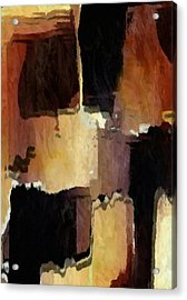 Brown Black Block Abstract Acrylic Print by Delynn Addams