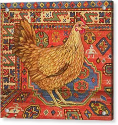 Brown Carpet Chicken Acrylic Print by Ditz