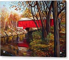 Brown County Bridge Acrylic Print by Dorothy Riley