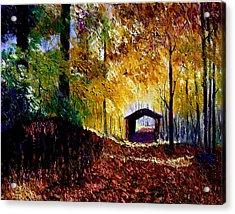 Brown County Covered Bridge Acrylic Print by Stan Hamilton