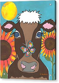 Brown Cow - Children Animal Art Acrylic Print