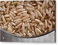 Brown Rice In Bowl Acrylic Print by Steve Gadomski