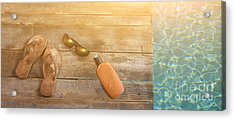 Brown Sandels On Withered Wood  Acrylic Print by Sandra Cunningham