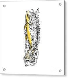Brown Trout Swimming Up Tattoo Acrylic Print by Aloysius Patrimonio