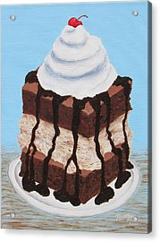 Acrylic Print featuring the painting Brownie Ice Cream Sandwich by Nancy Nale
