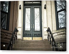 Brownstone Green Door Acrylic Print by John Rizzuto