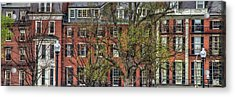 Acrylic Print featuring the photograph Brownstone Panoramic - Beacon Street Boston by Joann Vitali