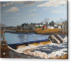 Brownville Dam With Village Acrylic Print