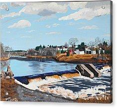 Brownville Village Dam Acrylic Print by Stella Sherman