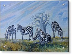 Acrylic Print featuring the painting Browsing Zebras by Anthony Mwangi