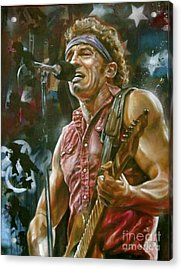 Bruce Springsteen Acrylic Print by Blackwater Studio