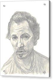 Bruce Springsteen Portrait Acrylic Print by Carol Wisniewski