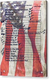 Bruce Springsteen Setlist At Rock In Rio Lisboa 2012 Acrylic Print by Marco Oliveira
