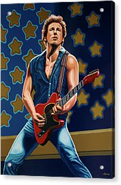Bruce Springsteen The Boss Painting Acrylic Print by Paul Meijering
