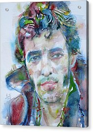 Bruce Springsteen - Watercolor Portrait.12 Acrylic Print by Fabrizio Cassetta