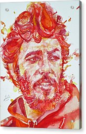Bruce Springsteen - Watercolor Portrait.13 Acrylic Print by Fabrizio Cassetta