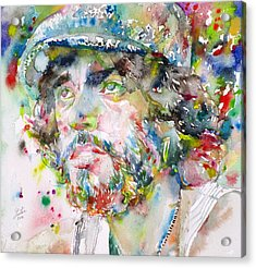 Bruce Springsteen - Watercolor Portrait.3 Acrylic Print by Fabrizio Cassetta