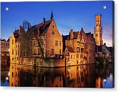 Acrylic Print featuring the photograph Bruges Architecture At Blue Hour by Barry O Carroll